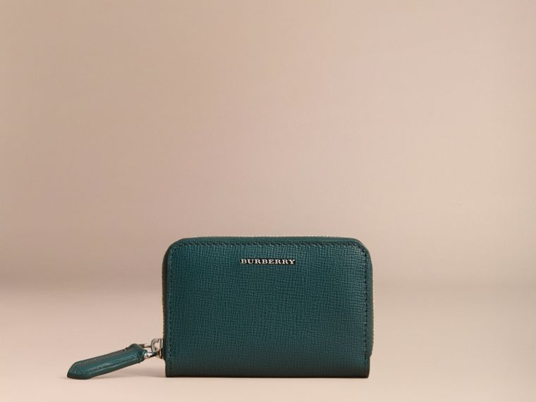 London Leather Ziparound Coin Case in Dark Teal | Burberry - cell image 4