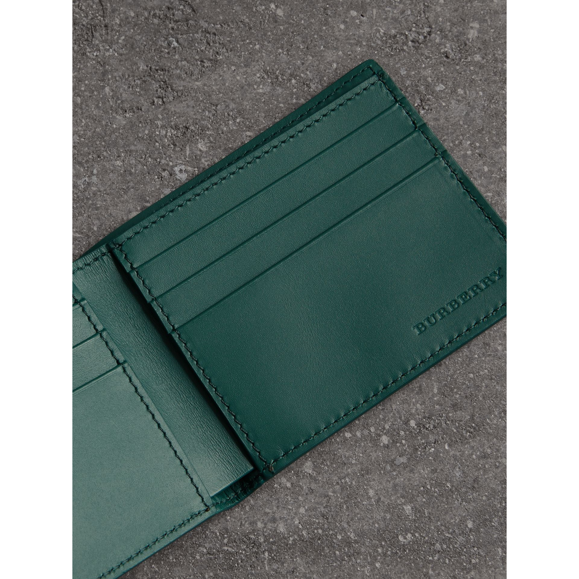 Grainy Leather Bifold Wallet in Dark Cyan - Men | Burberry Canada - gallery image 3