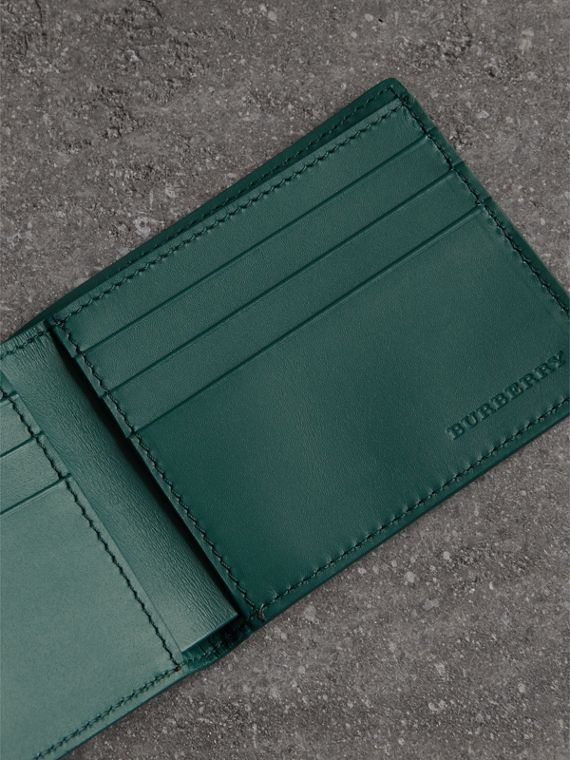 Grainy Leather Bifold Wallet in Dark Cyan - Men | Burberry - cell image 3