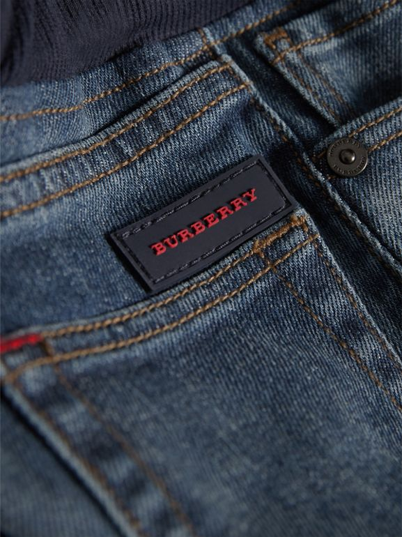Relaxed Fit Pull-on Denim Jeans in Mid Indigo | Burberry - cell image 1