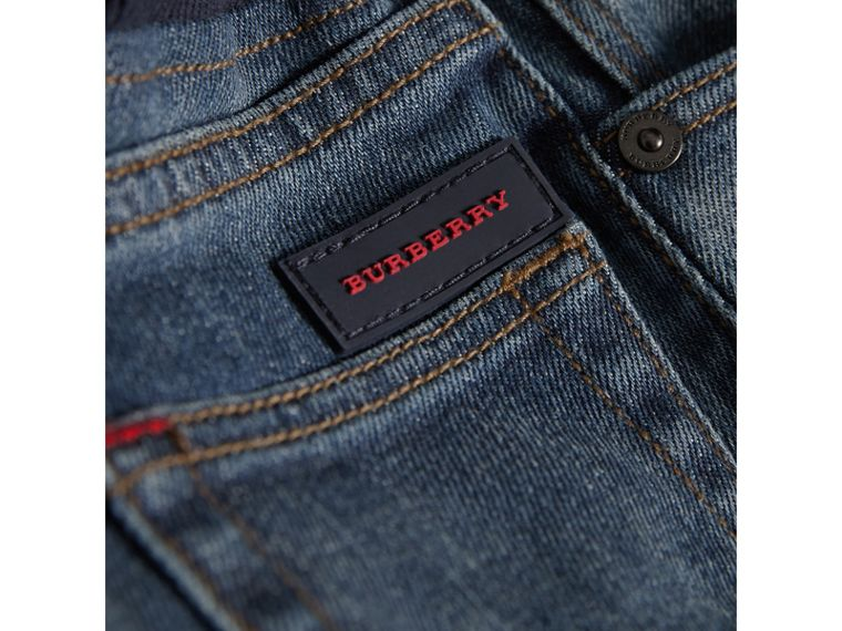 Relaxed Fit Pull-on Denim Jeans in Mid Indigo | Burberry Australia - cell image 1