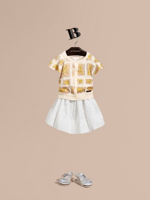 Broderie Anglaise Cotton Skirt with Lace Trim - Girl | Burberry Hong Kong