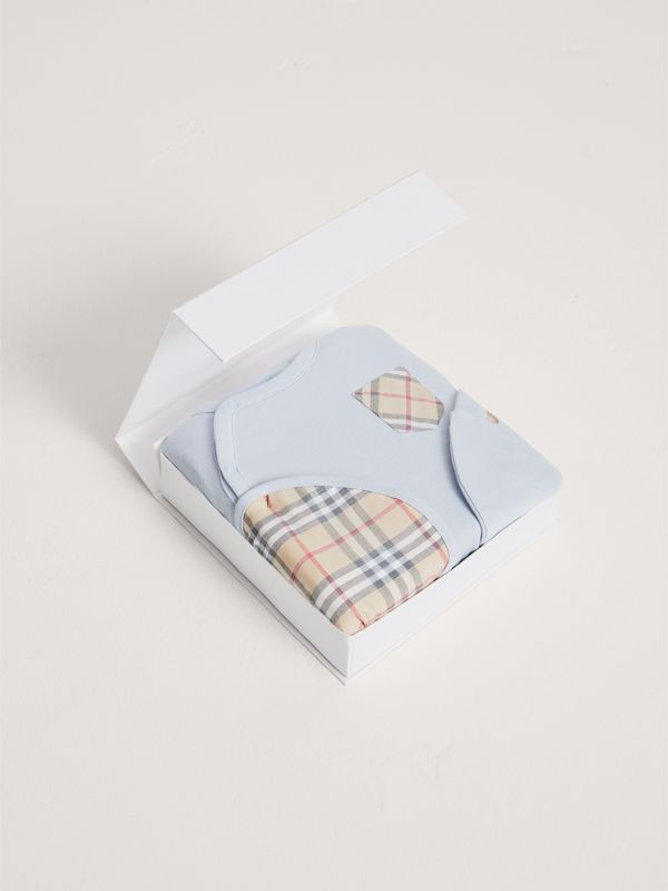 Check Cotton Three-piece Baby Gift Set in Ice Blue - Children | Burberry Canada - cell image 2