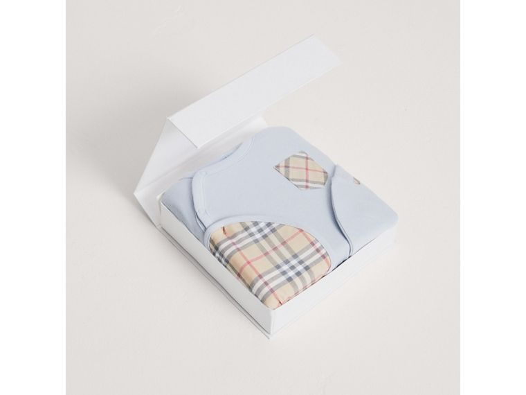 Check Cotton Three-piece Baby Gift Set in Ice Blue | Burberry Australia - cell image 2