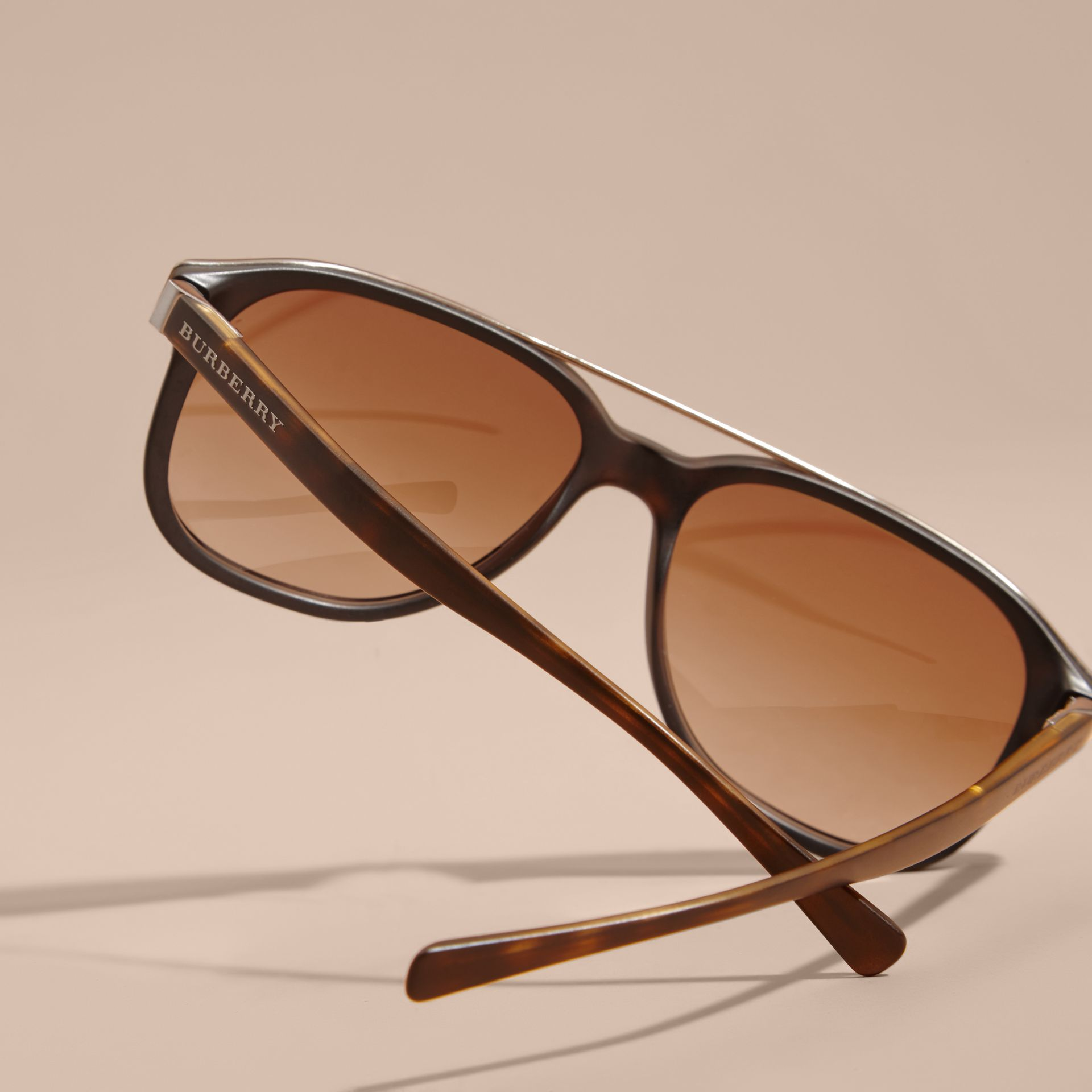 Square Frame Sunglasses in Tortoise Shell - Men | Burberry - gallery image 4