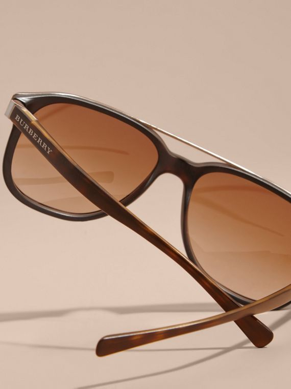 Square Frame Sunglasses in Tortoise Shell - Men | Burberry - cell image 3