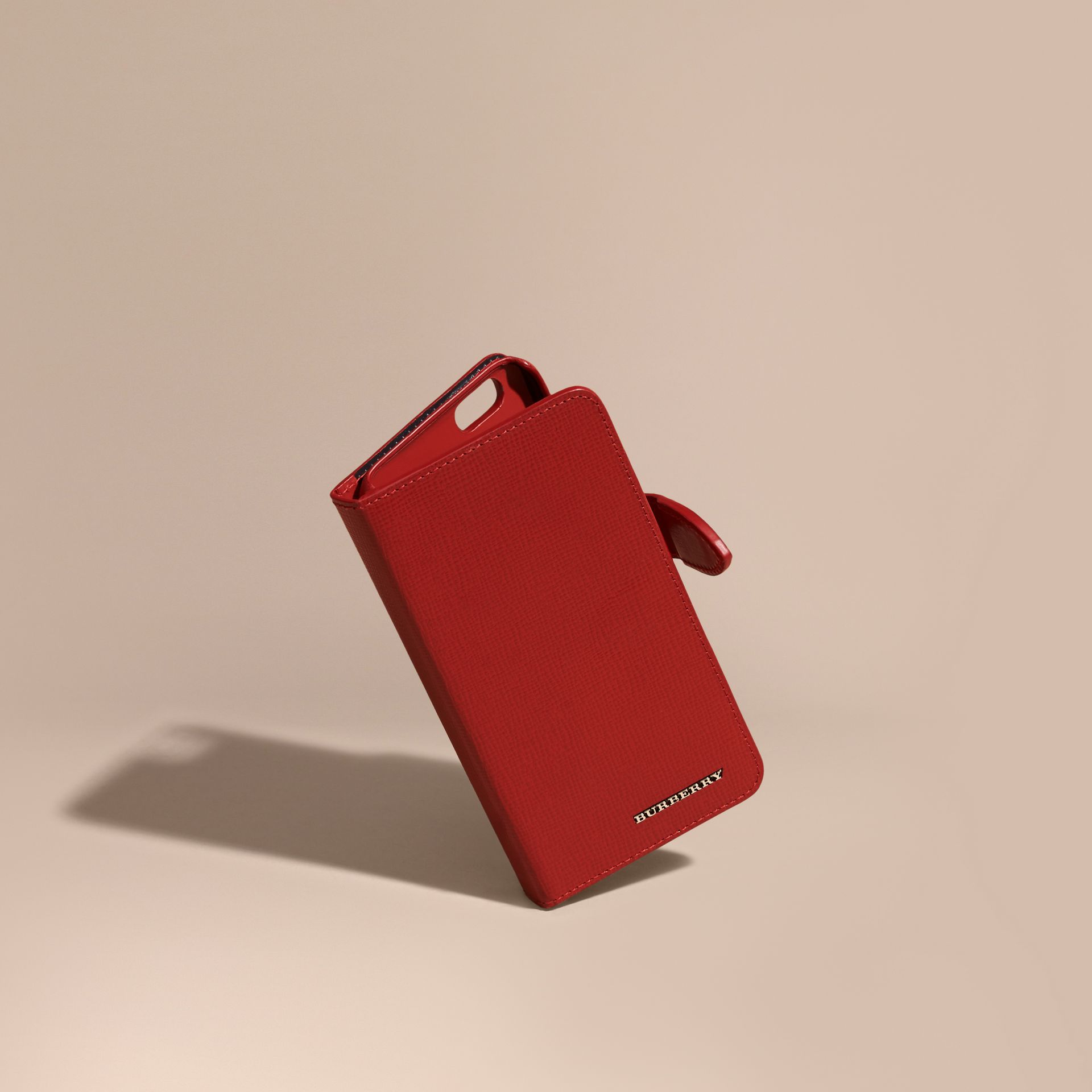 Dark military red London Leather iPhone 6 Flip Case - gallery image 1