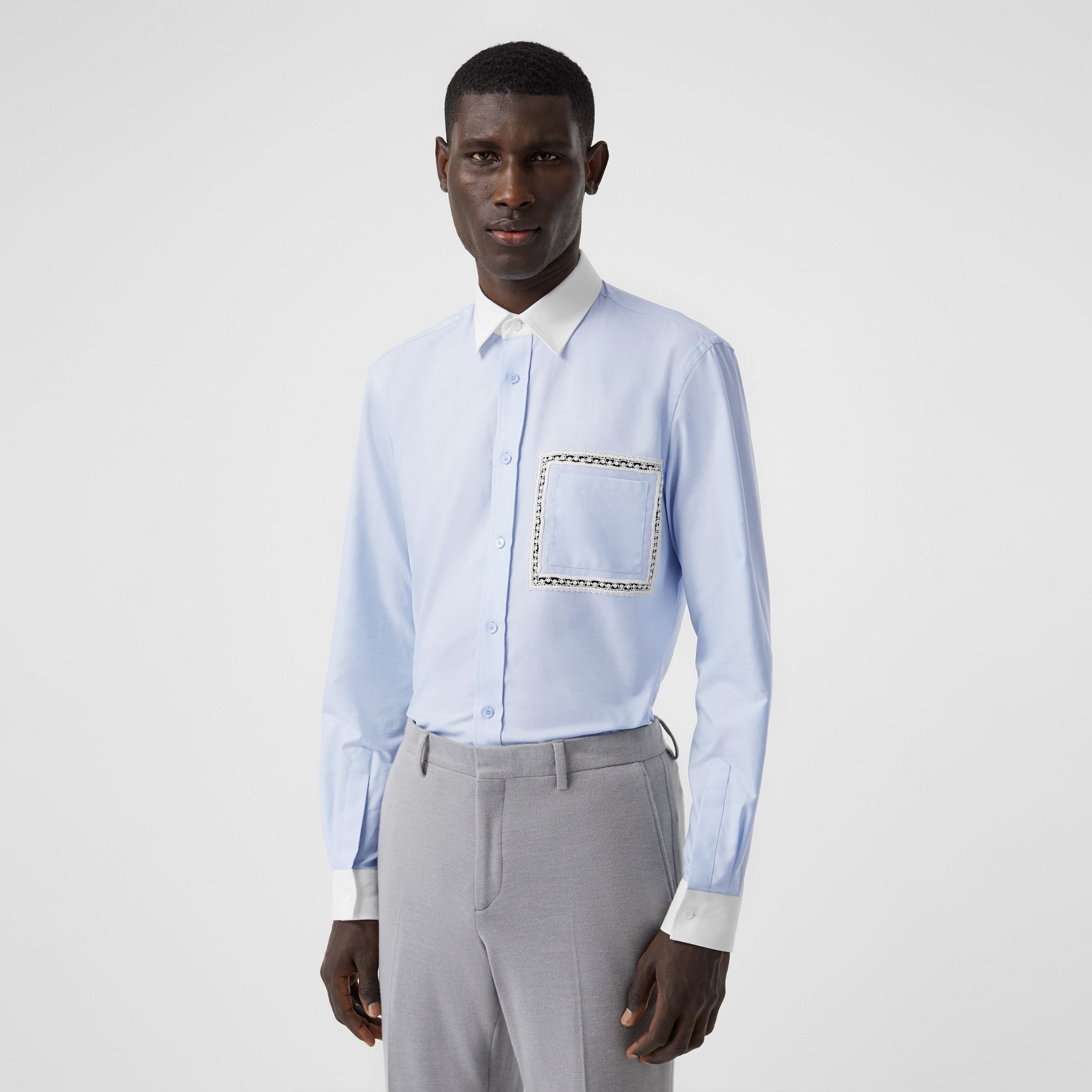 Classic Fit Lace Detail Cotton Oxford Shirt in Pale Blue - Men | Burberry - 1