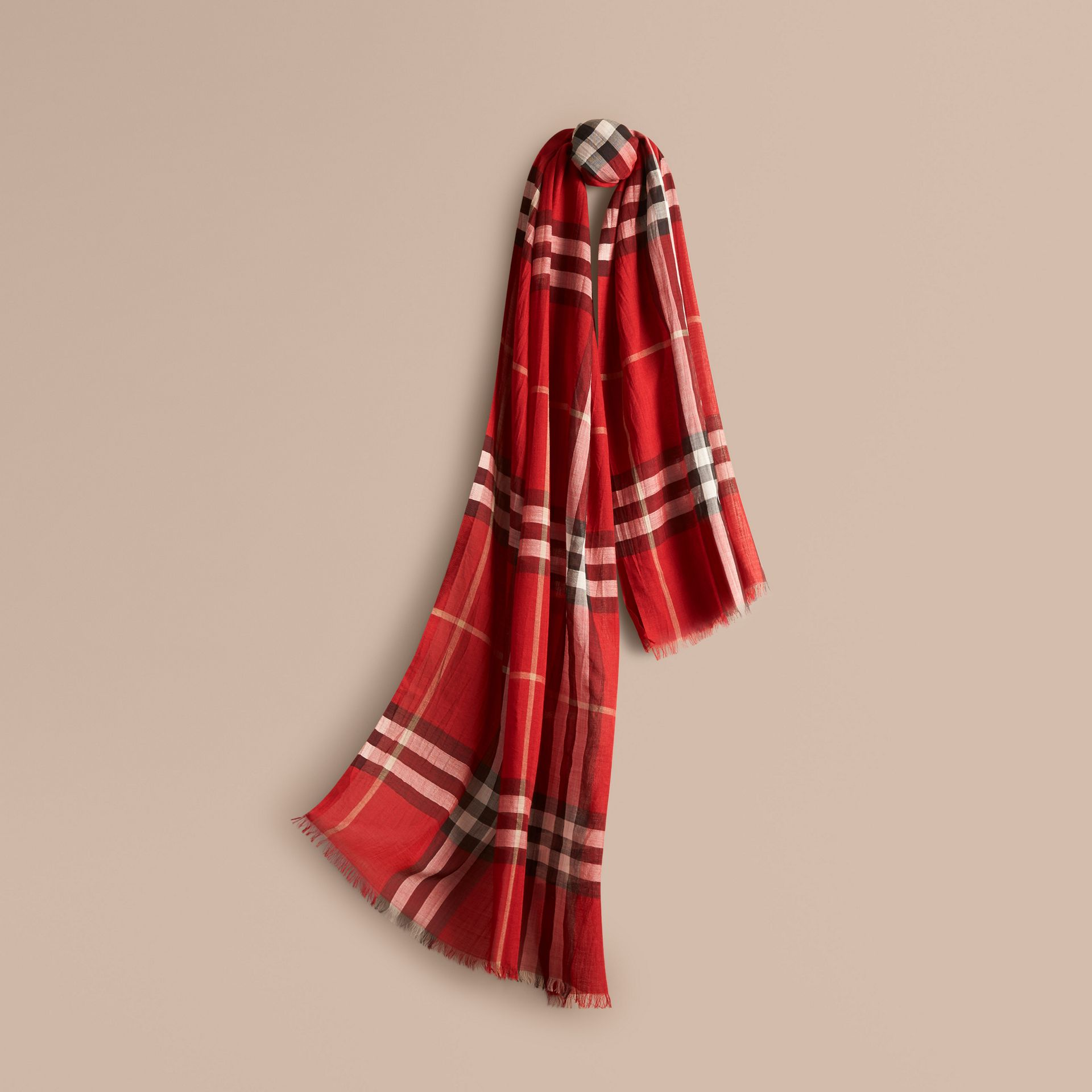 Lightweight Check Wool and Silk Scarf in Parade Red - gallery image 1