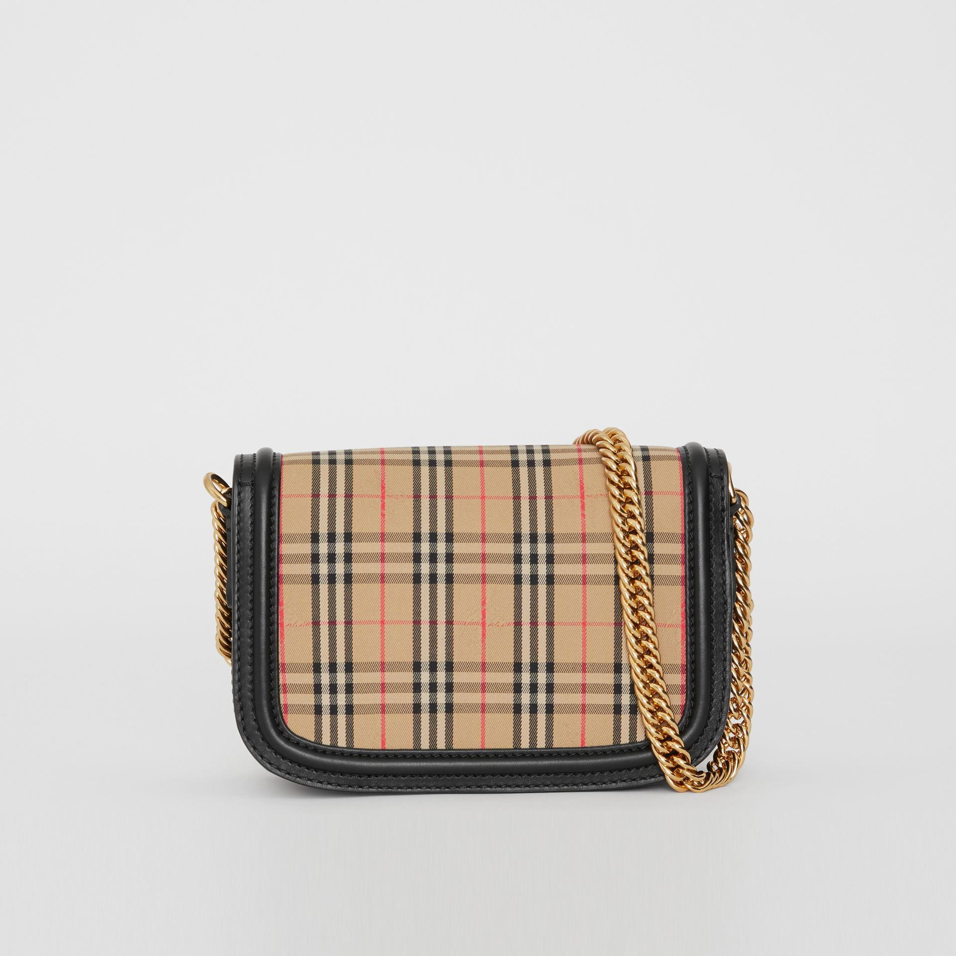 The 1983 Check Link Bag with Leather Trim in Black - Women | Burberry United Kingdom - gallery image 8