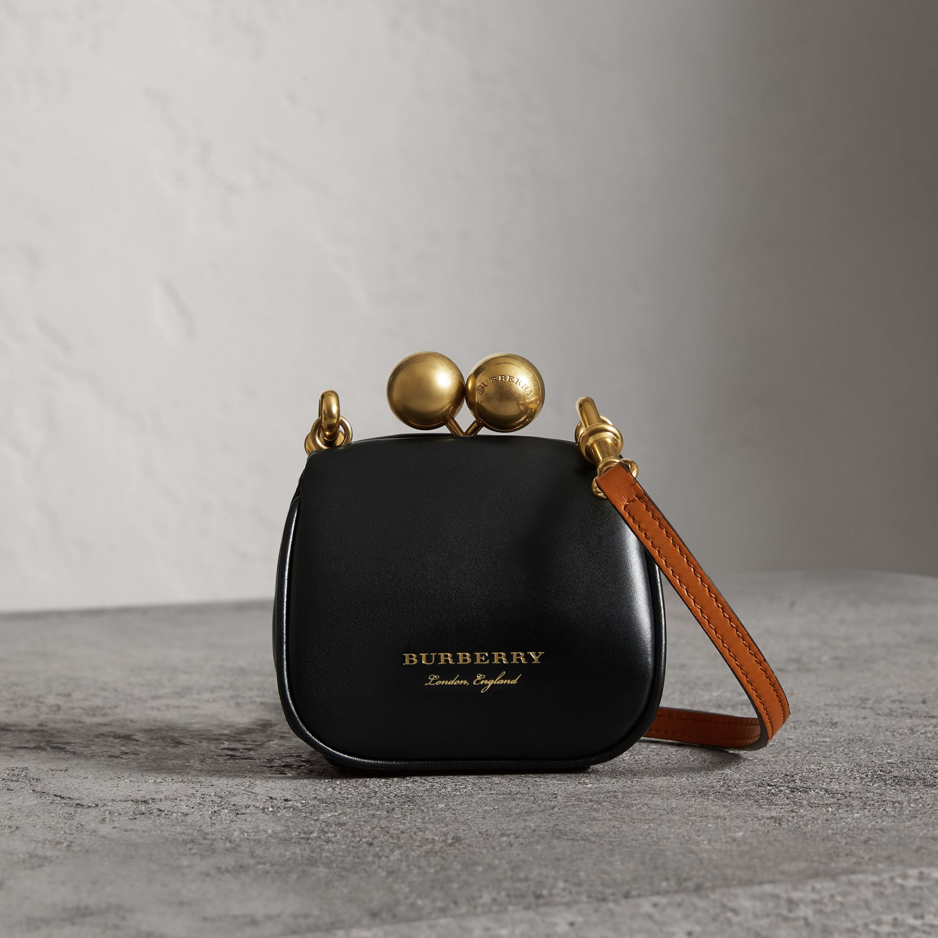 Mini Two-tone Leather Metal Frame Clutch Bag in Black - Women | Burberry - gallery image 0