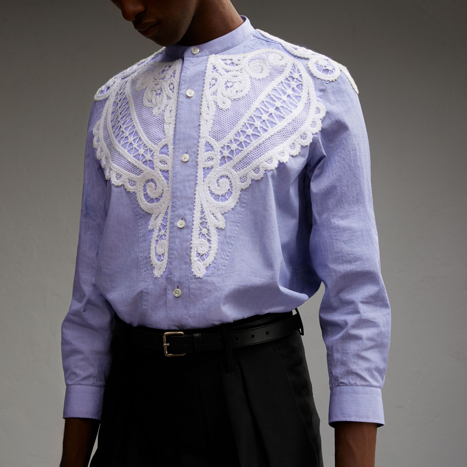 Lace Appliqué Cotton Chambray Shirt in Mid Indigo - Men | Burberry - gallery image 5
