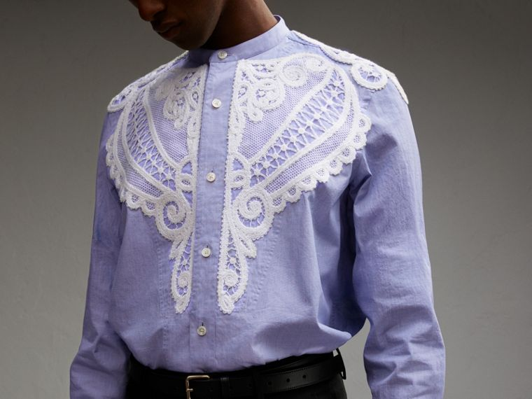 Lace Appliqué Cotton Chambray Shirt - Men | Burberry - cell image 4