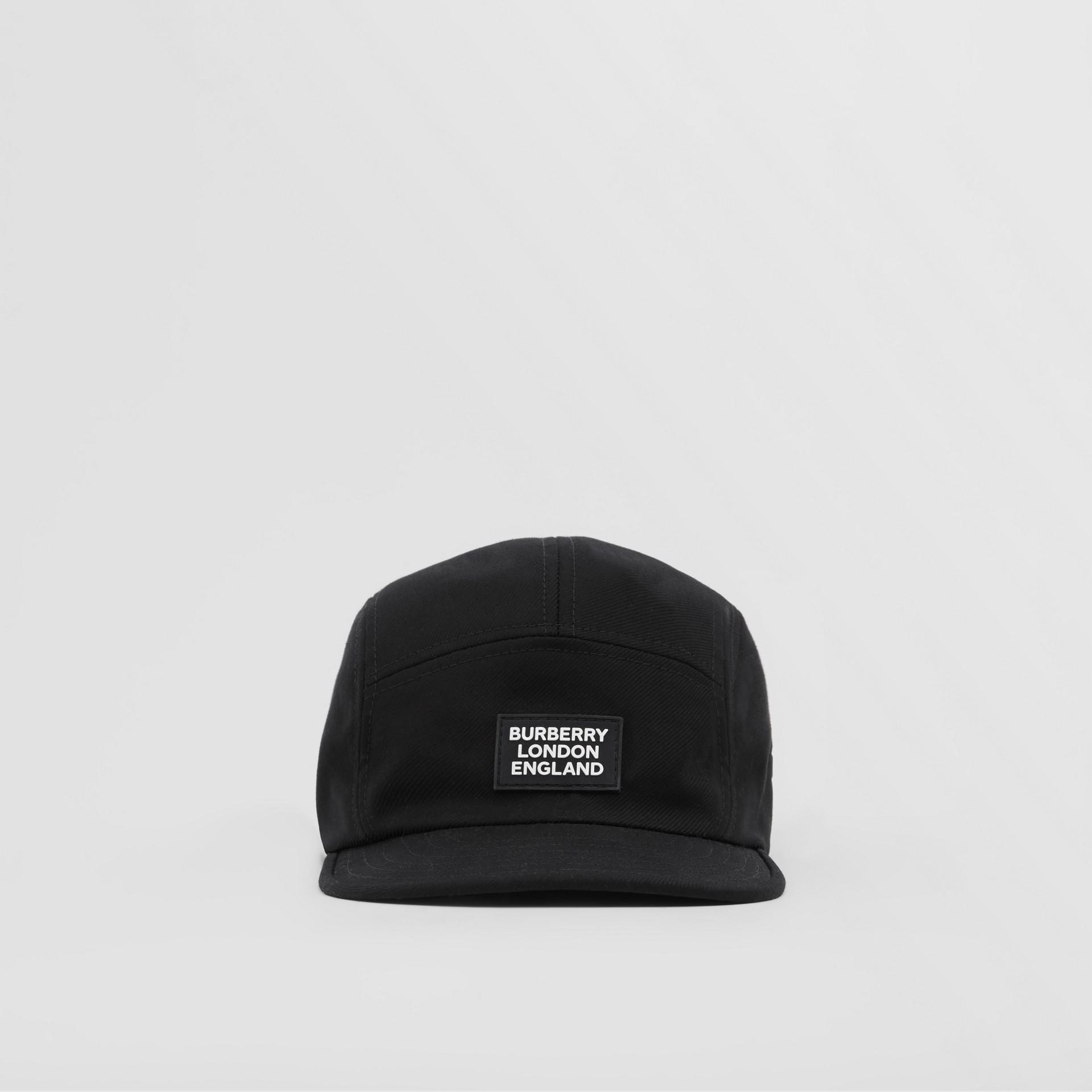 Logo Appliqué Cotton Twill Cap in Black | Burberry United States - gallery image 0