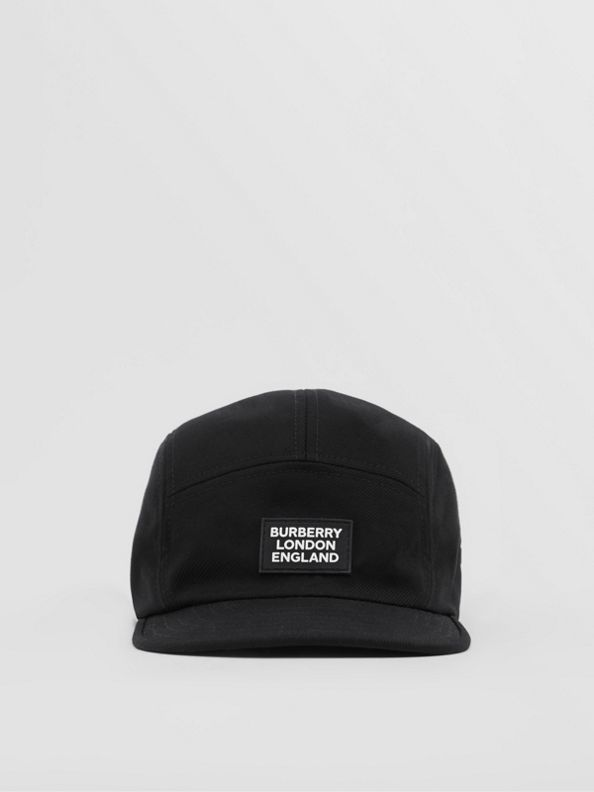Logo Appliqué Cotton Twill Cap in Black