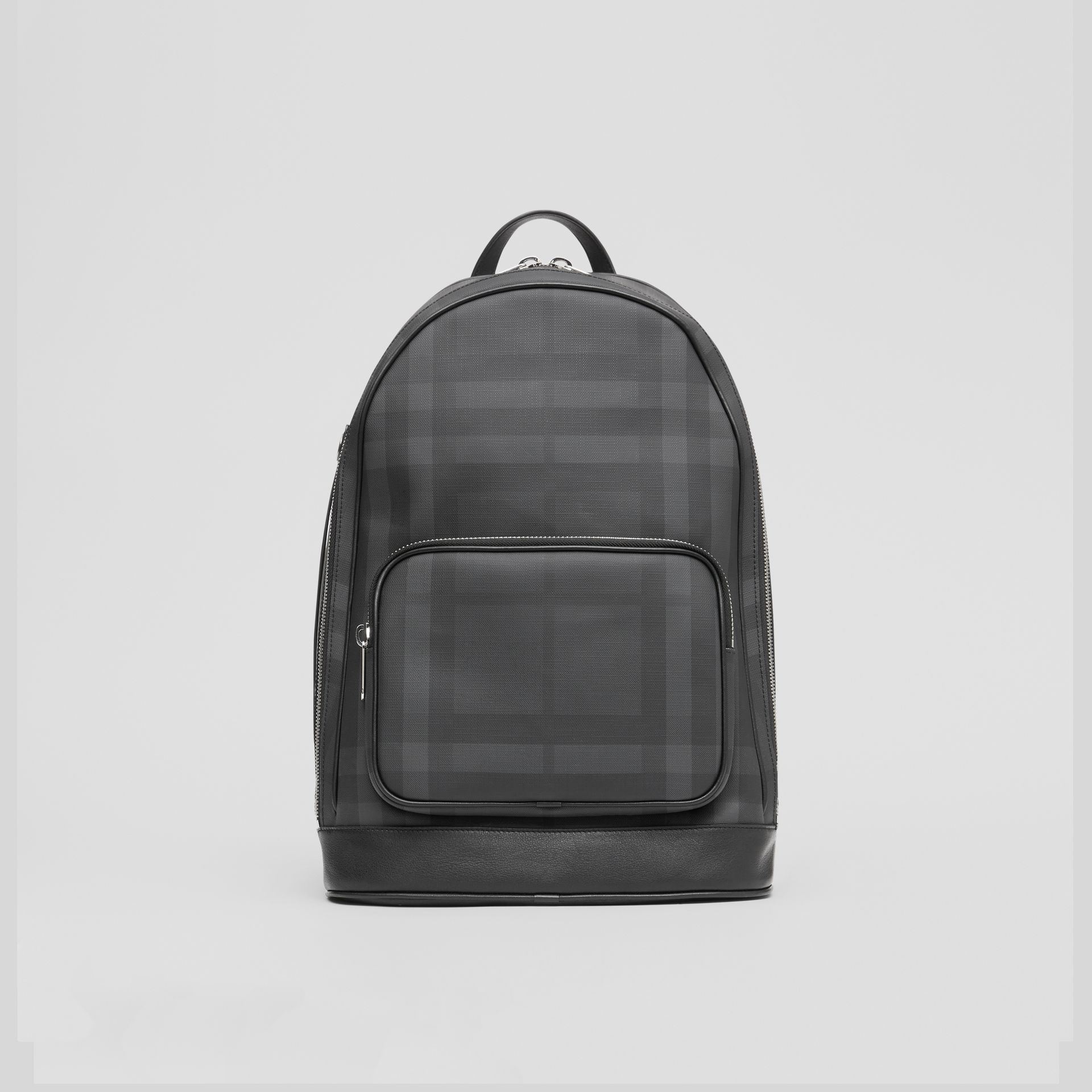 London Check and Leather Backpack in Dark Charcoal - Men | Burberry Hong Kong S.A.R - gallery image 0