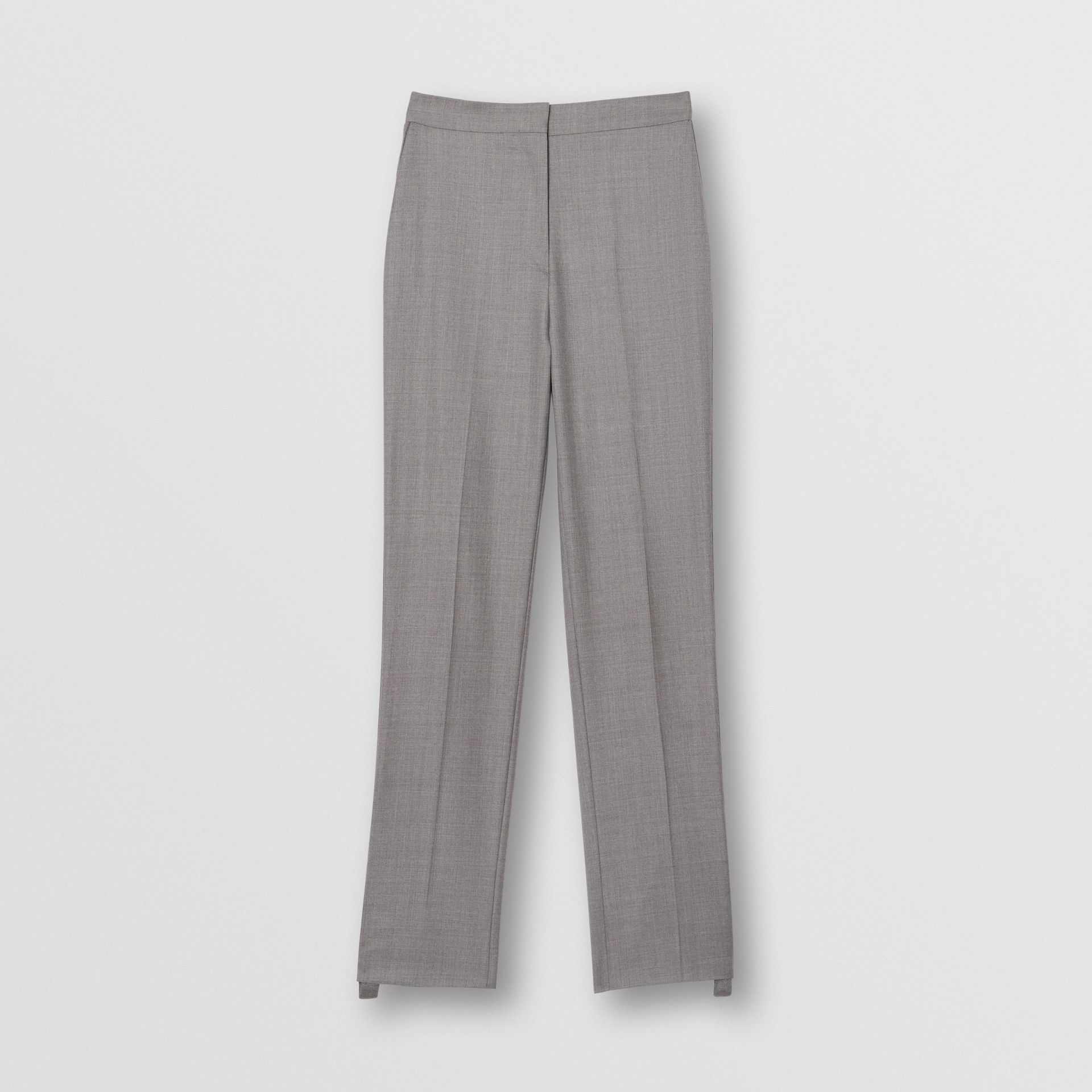 Stripe Detail Wool Trousers in Flint - Women | Burberry United States - gallery image 3