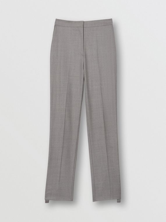 Stripe Detail Wool Trousers in Flint