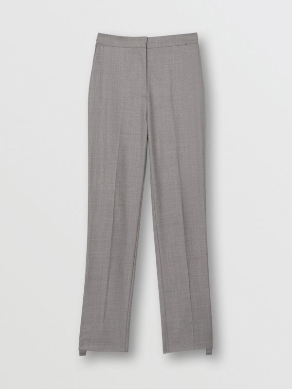 Stripe Detail Wool Trousers in Flint - Women | Burberry United States - cell image 3