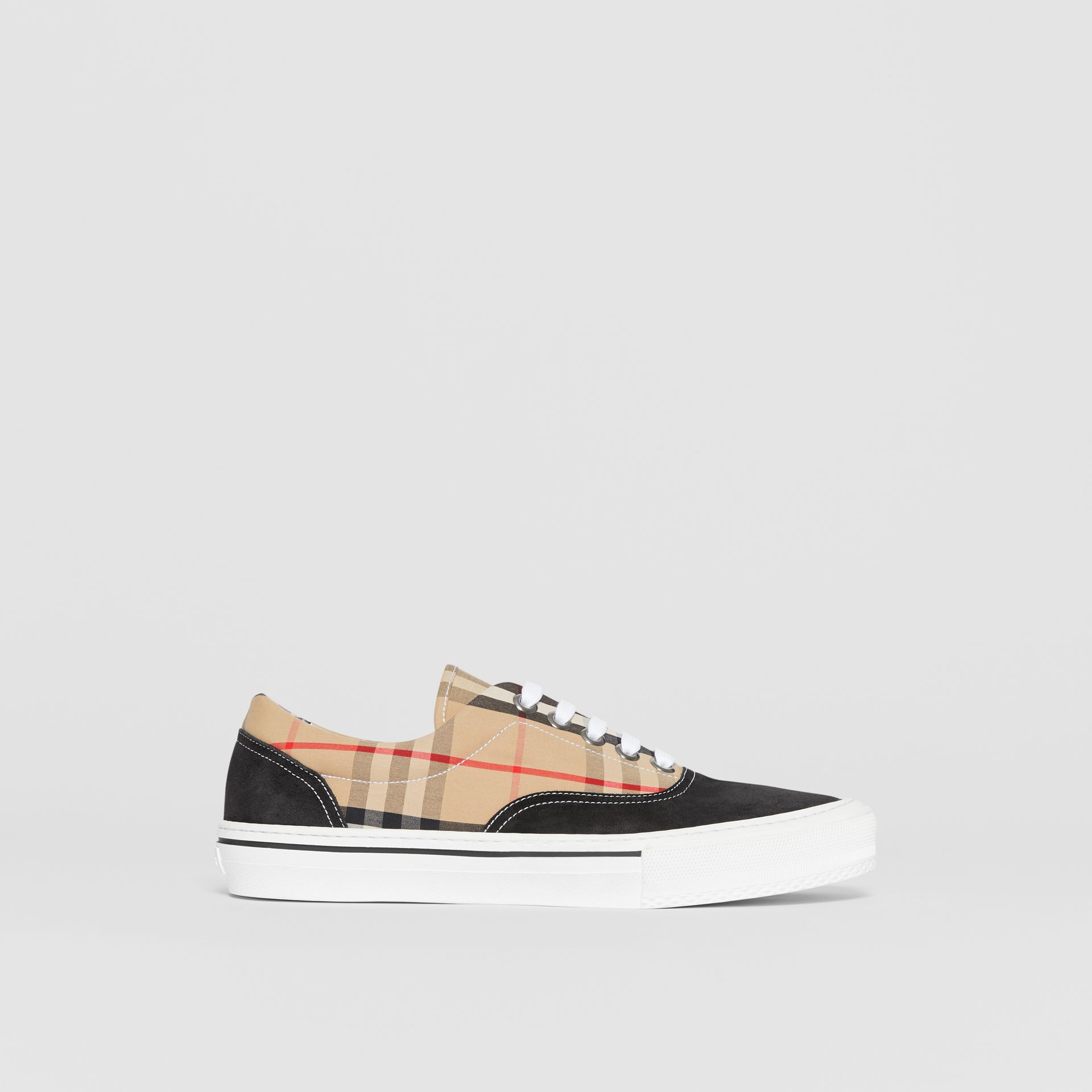 Vintage Check Cotton and Suede Sneakers in Black/archive Beige - Men | Burberry - gallery image 5
