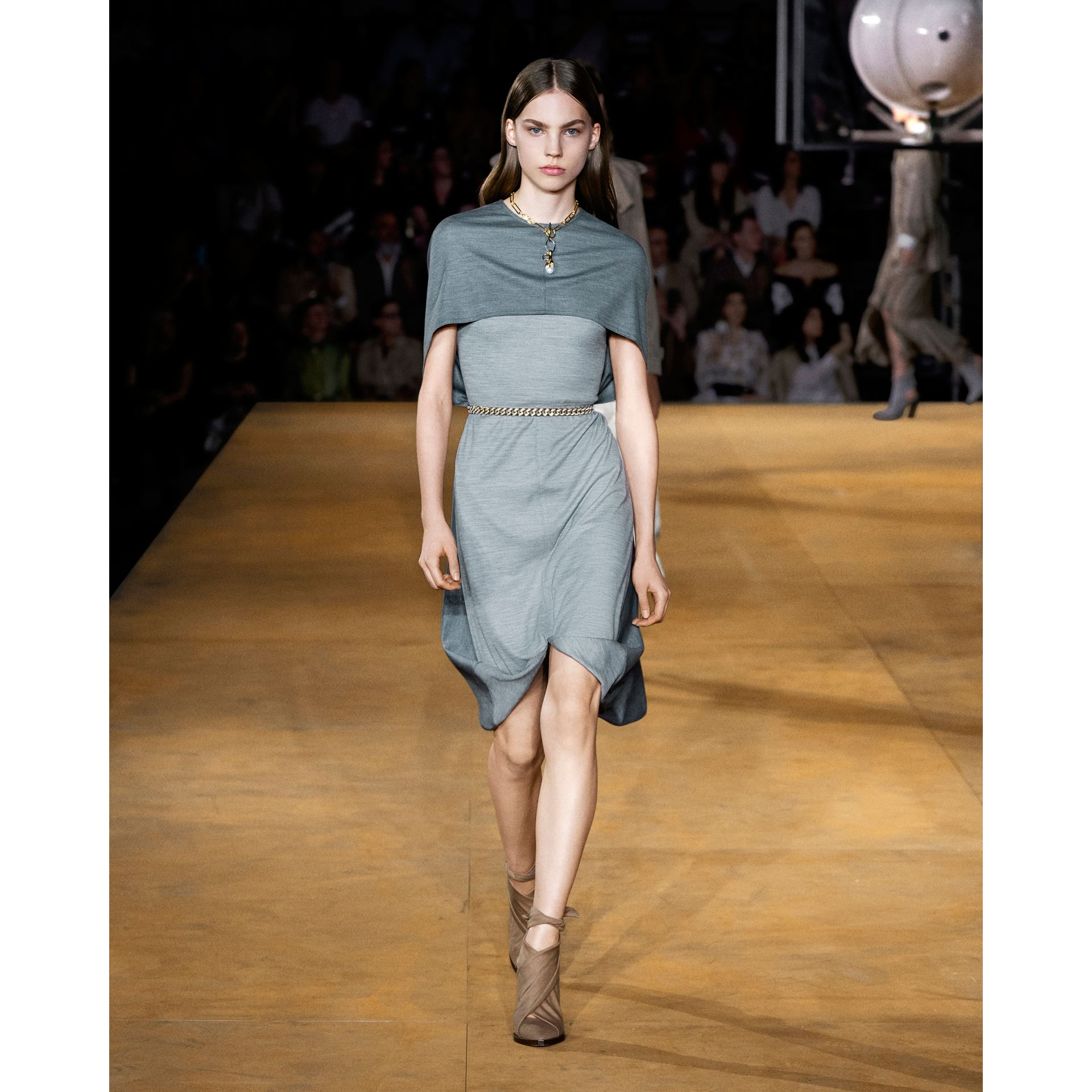 Cape Detail Technical Wool Jersey Shift Dress in Cloud Grey - Women | Burberry United States - gallery image 5