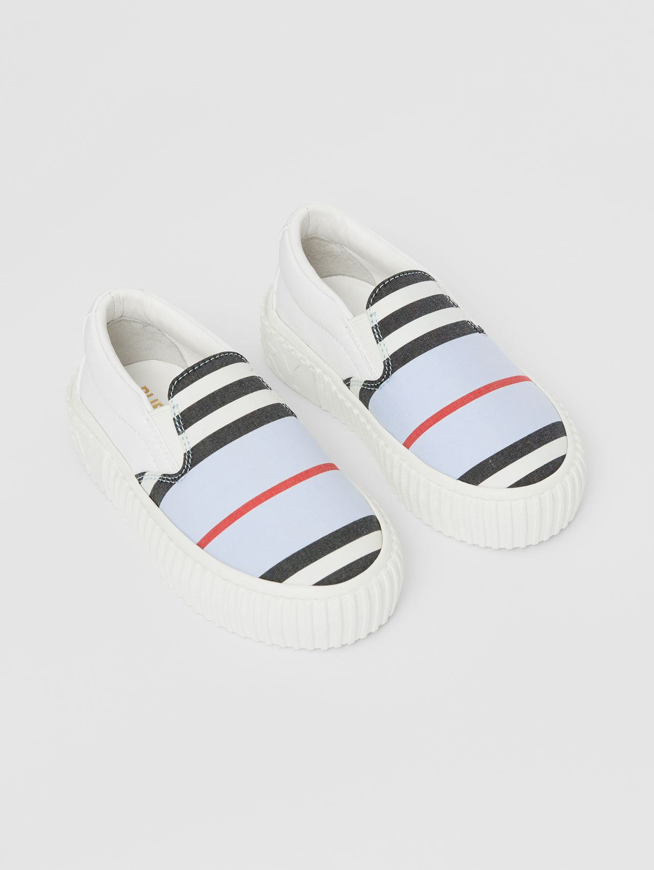 Icon Stripe Cotton Slip-on Sneakers in Pale Blue