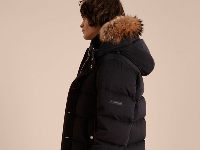 Down-filled Cashmere Jacket with Detachable Fur Trim in Navy Melange - cell image 1