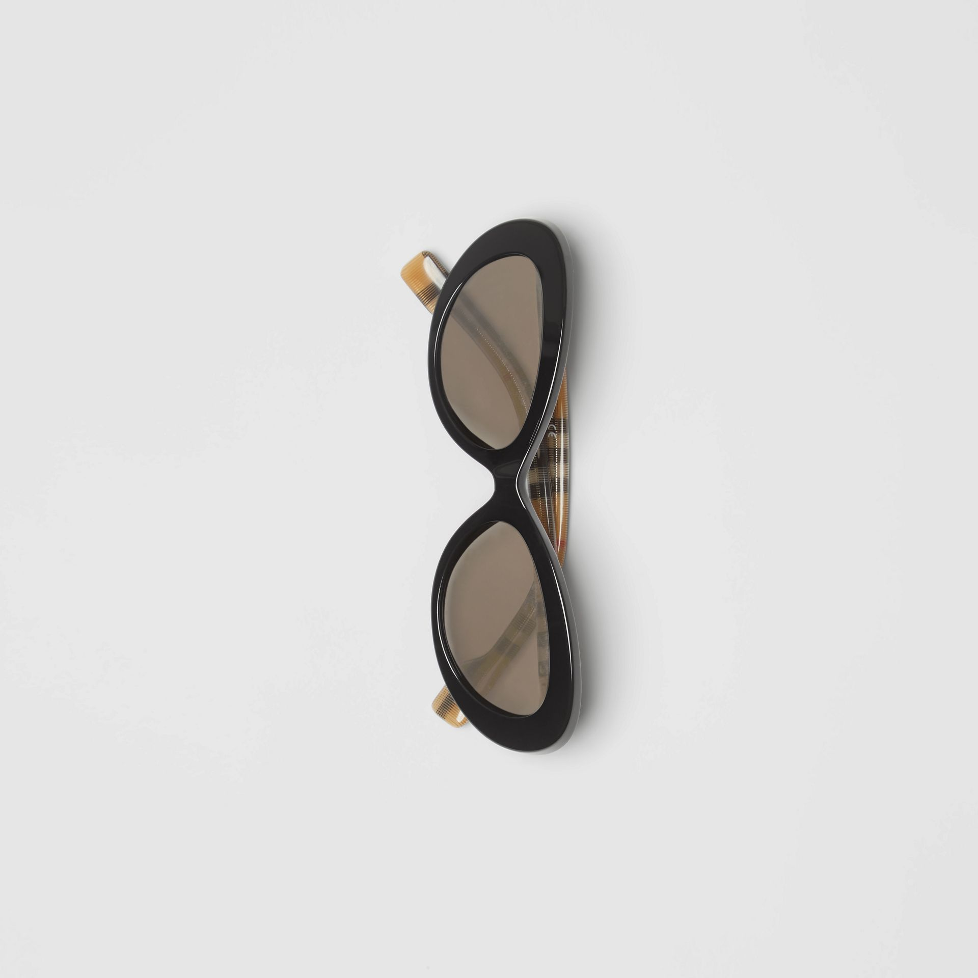 Vintage Check Detail Cat-eye Frame Sunglasses in Black - Women | Burberry United Kingdom - gallery image 3
