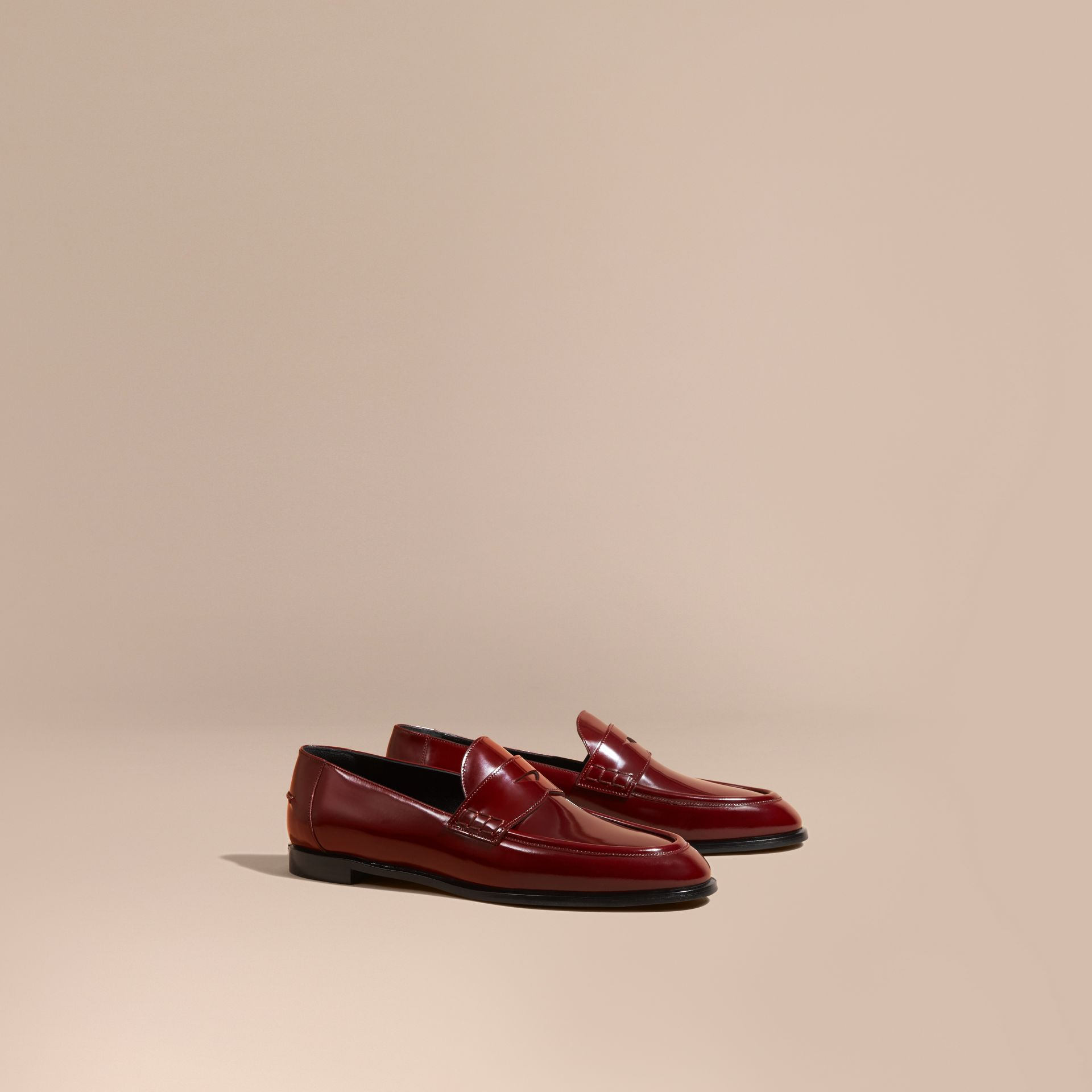 Mahogany red Polished Leather Loafers Mahogany Red - gallery image 1
