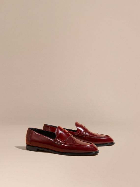 Polished Leather Loafers Mahogany Red
