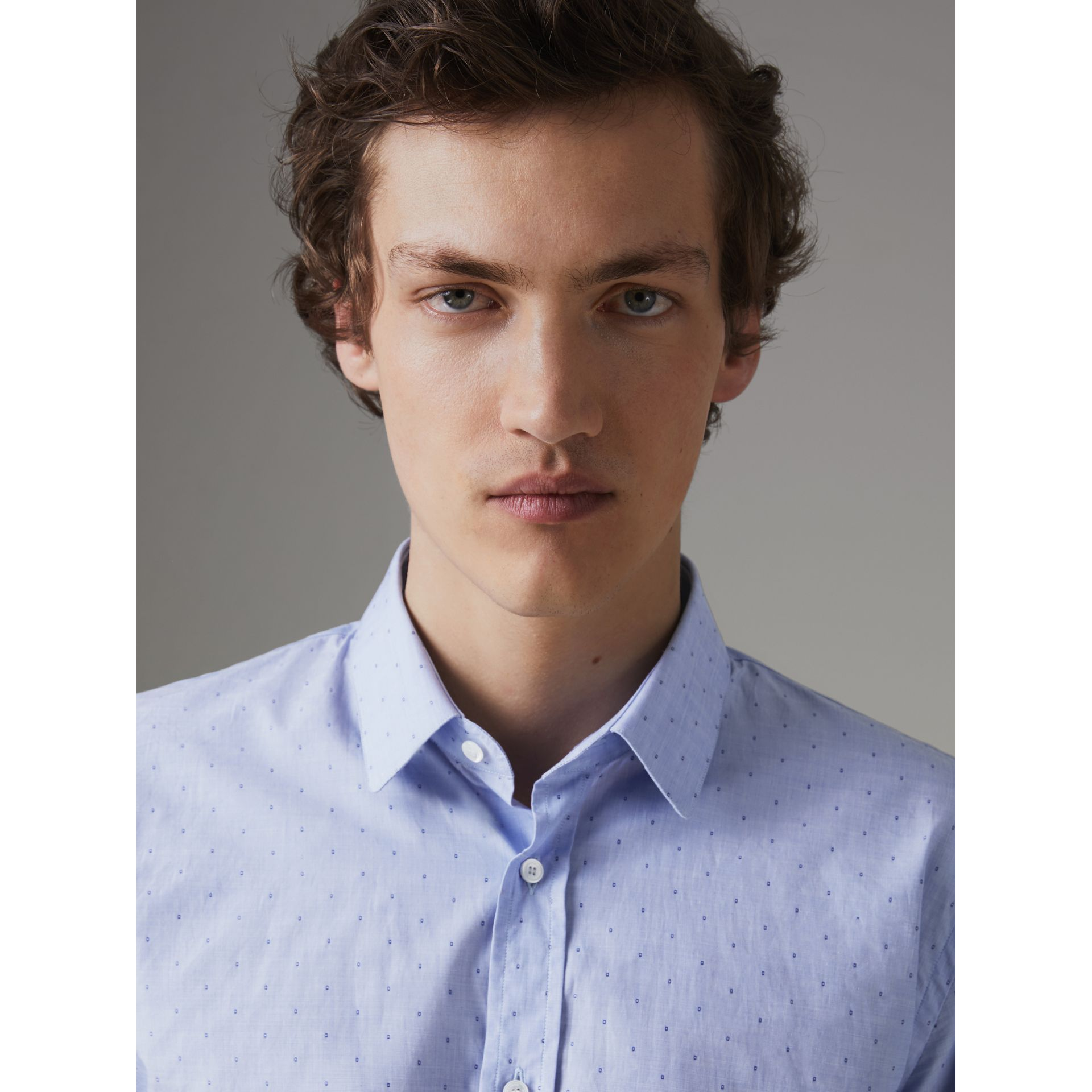 Slim Fit Fil Coupé Cotton Shirt in Light Blue - Men | Burberry United Kingdom - gallery image 1
