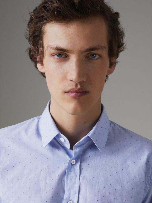 Slim Fit Fil Coupé Cotton Shirt in Light Blue - Men | Burberry Australia - cell image 1