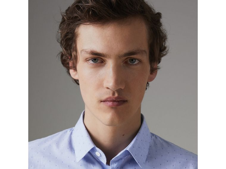 Slim Fit Fil Coupé Cotton Shirt in Light Blue - Men | Burberry - cell image 1