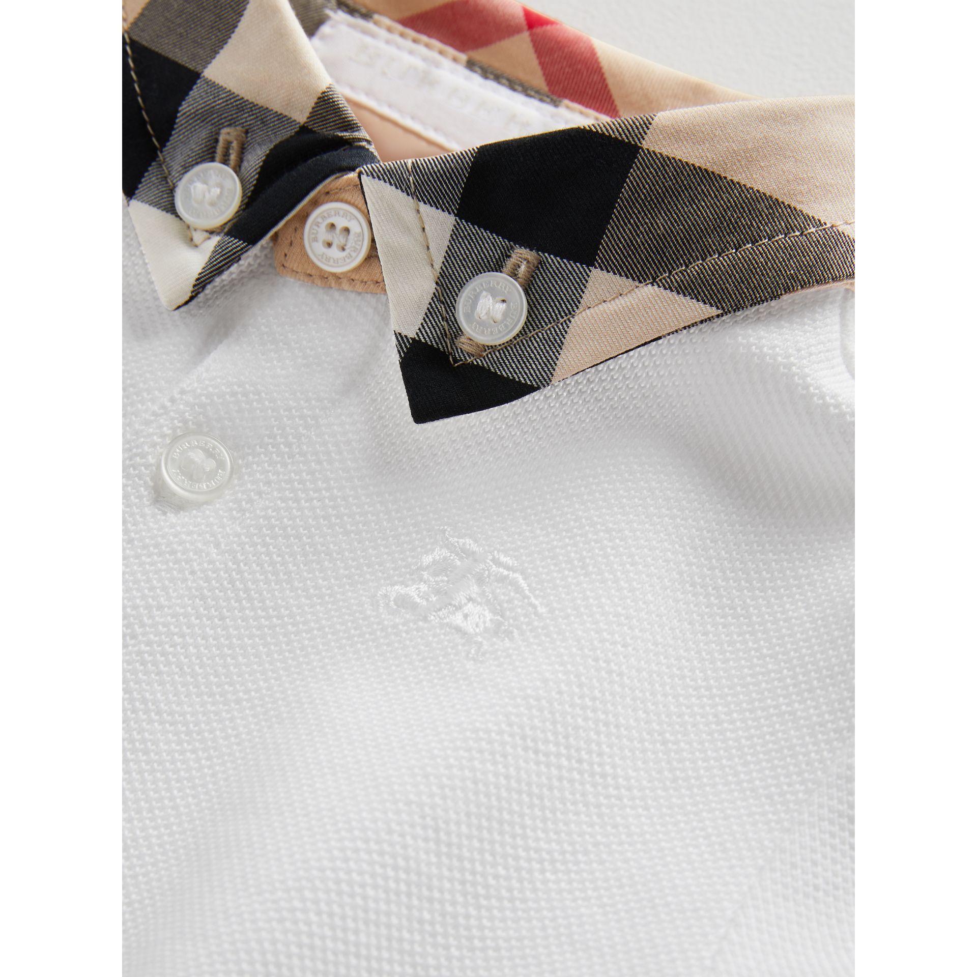 Check Collar Cotton Polo Shirt in White | Burberry - gallery image 1