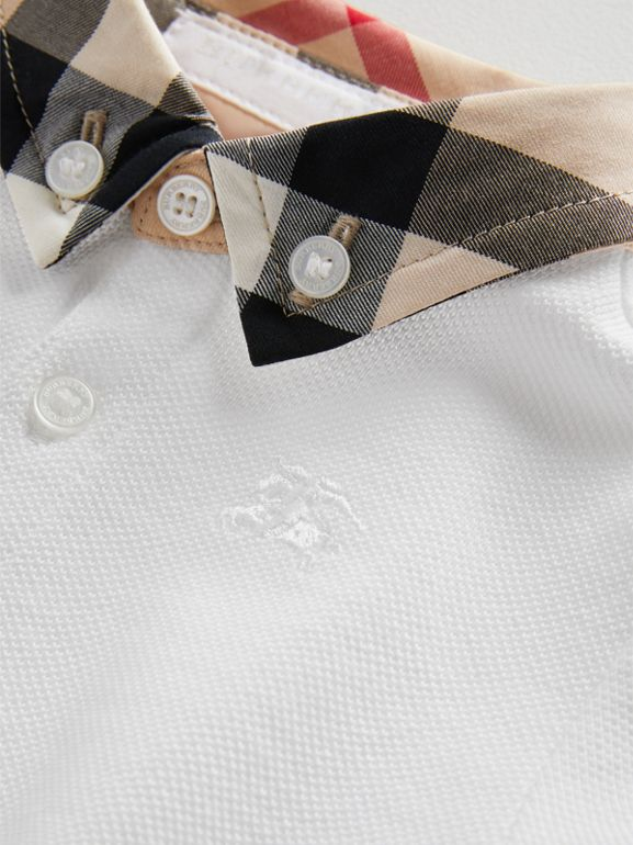Check Collar Cotton Polo Shirt in White - Children | Burberry Australia - cell image 1