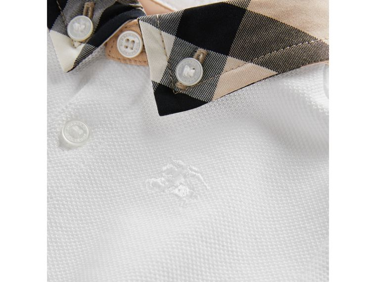 Check Collar Cotton Polo Shirt in White | Burberry - cell image 1