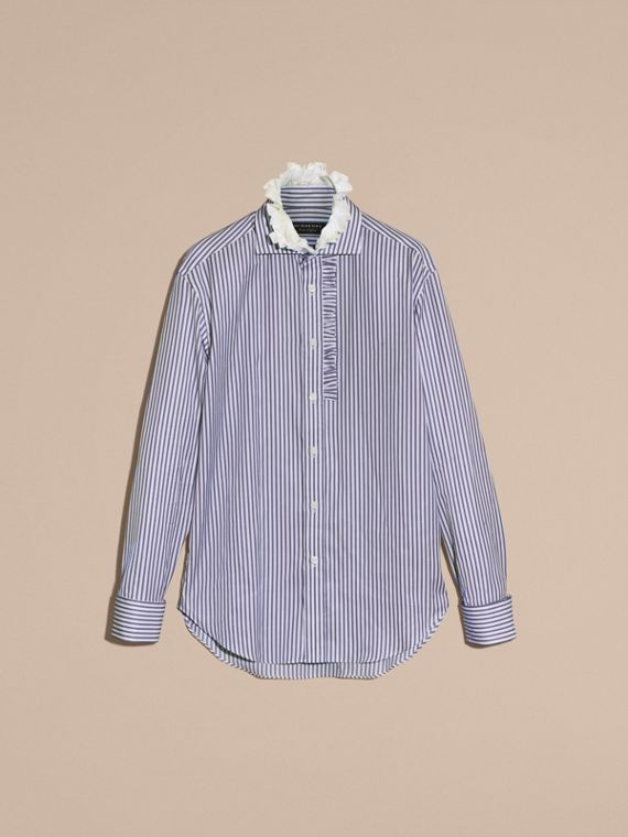 Ruffle Detail Double Cuff Striped Cotton Shirt - cell image 3