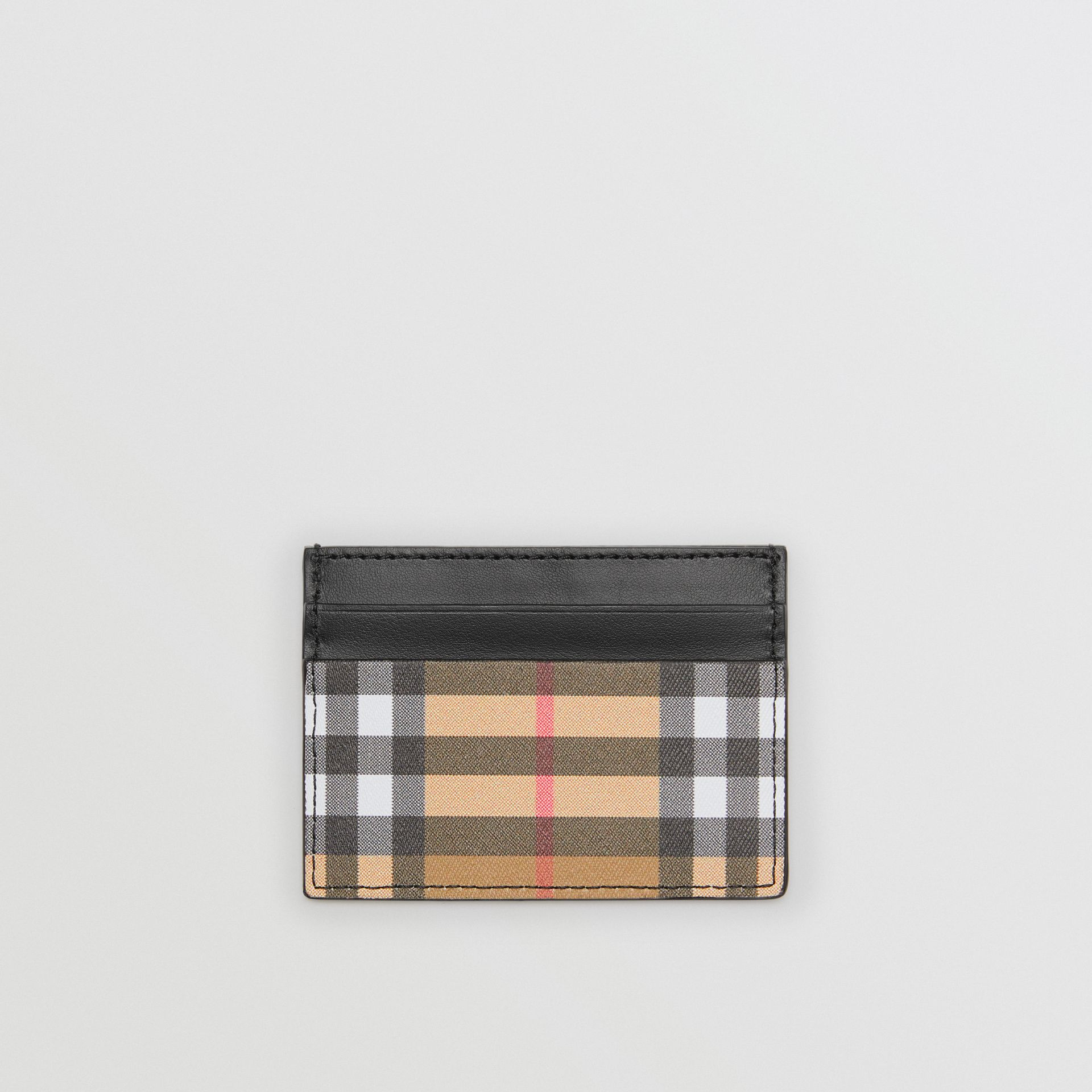 Vintage Check and Leather Card Case in Black | Burberry - gallery image 0