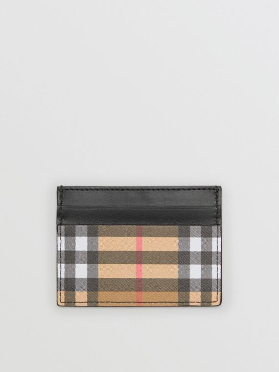 Vintage Check and Leather Card Case in Black