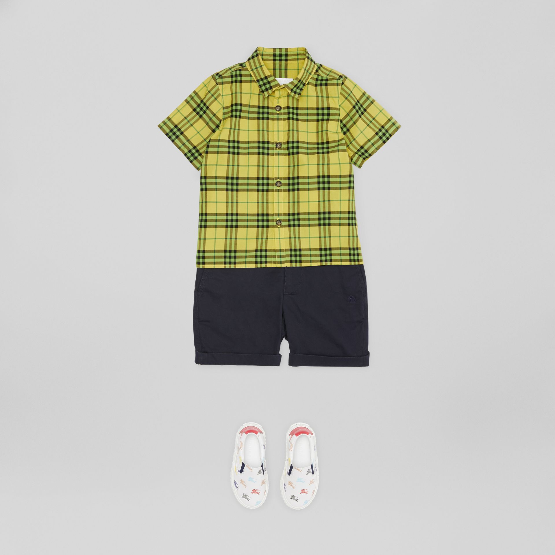 Short-sleeve Check Cotton Shirt in Citron | Burberry United States - gallery image 2