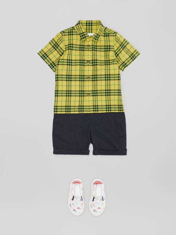 Short-sleeve Check Cotton Shirt in Citron | Burberry United States - cell image 2