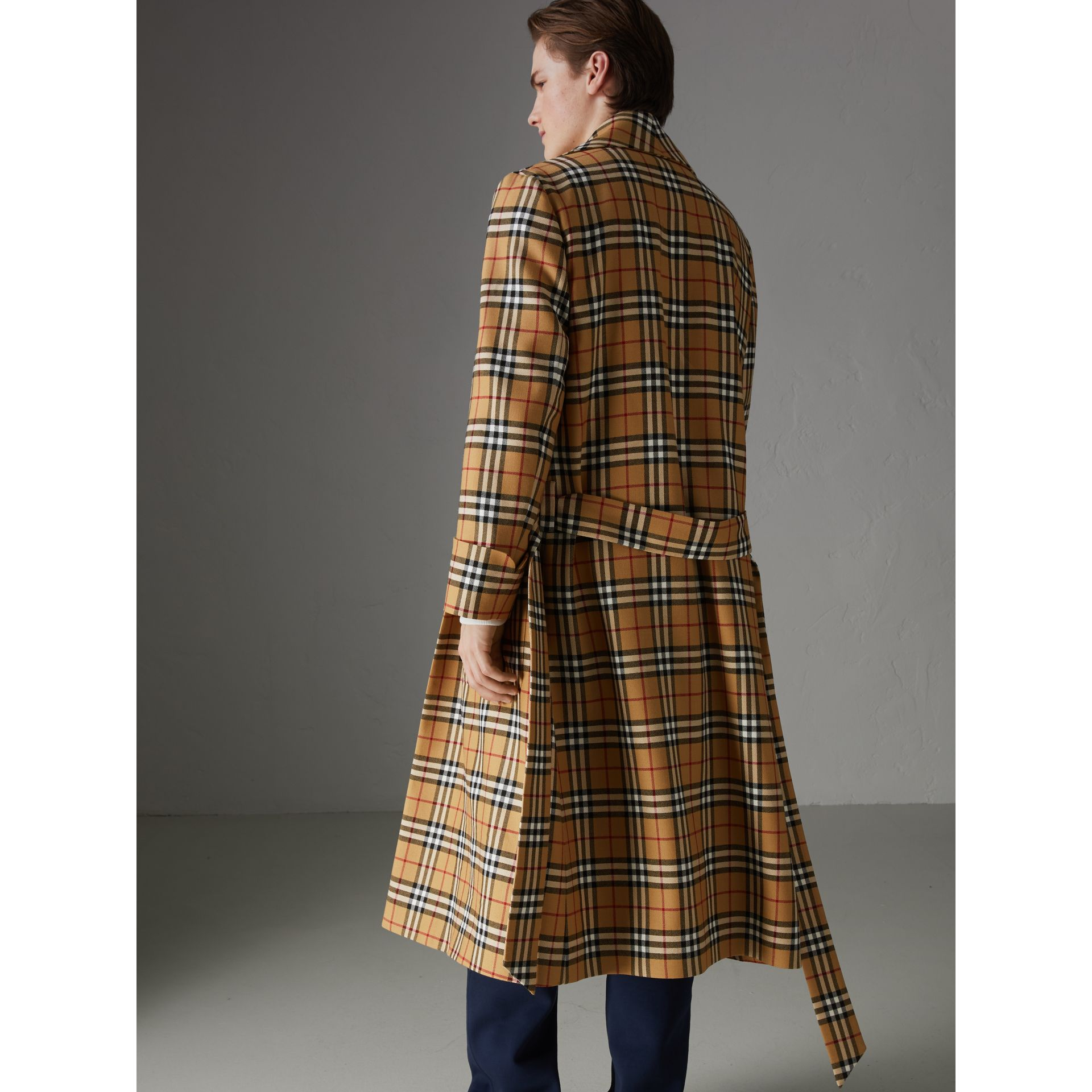 Reissued Vintage Check Dressing Gown Coat in Antique Yellow - Men | Burberry Canada - gallery image 2