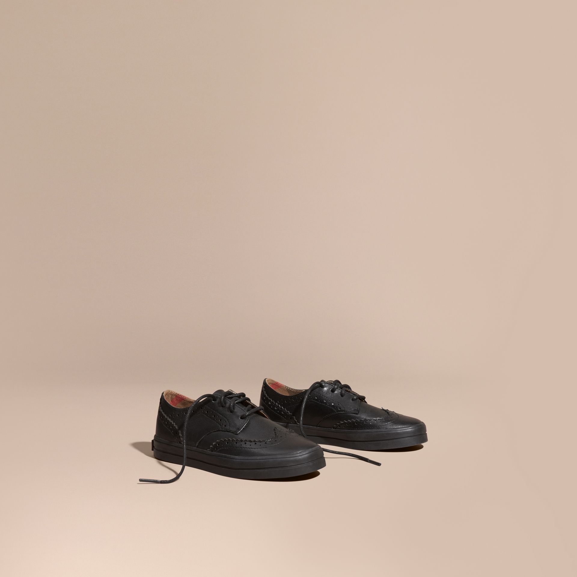 Leather Brogue-detail Trainers in Black - Boy | Burberry Australia - gallery image 1