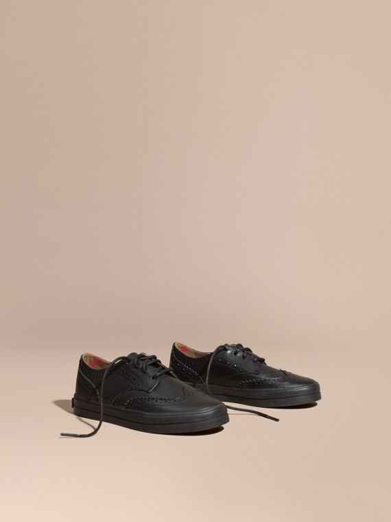 Leather Brogue-detail Trainers in Black