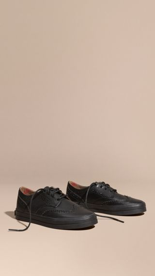 Leather Brogue-detail Trainers