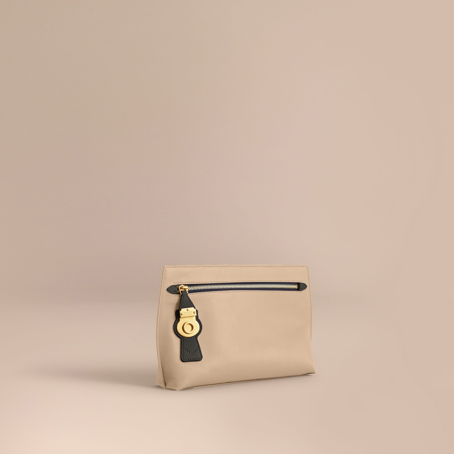 Two-tone Trench Leather Wristlet Pouch in Limestone/black - Women | Burberry - gallery image 1