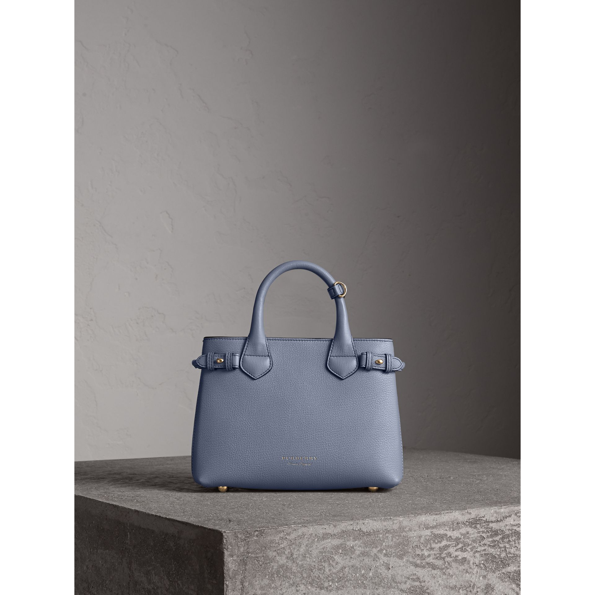 The Small Banner in Leather and House Check in Slate Blue - Women | Burberry - gallery image 8