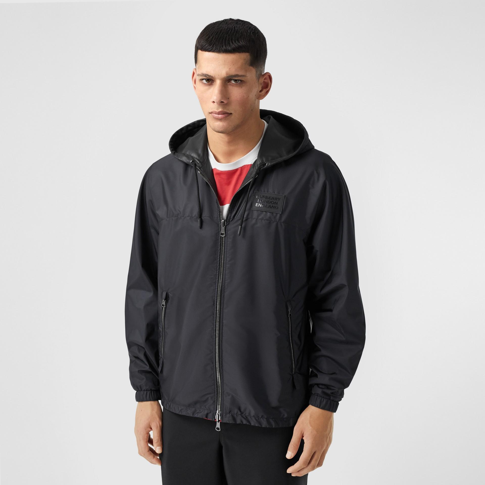 Reversible Lambskin and Nylon Hooded Jacket in Black - Men | Burberry - gallery image 4