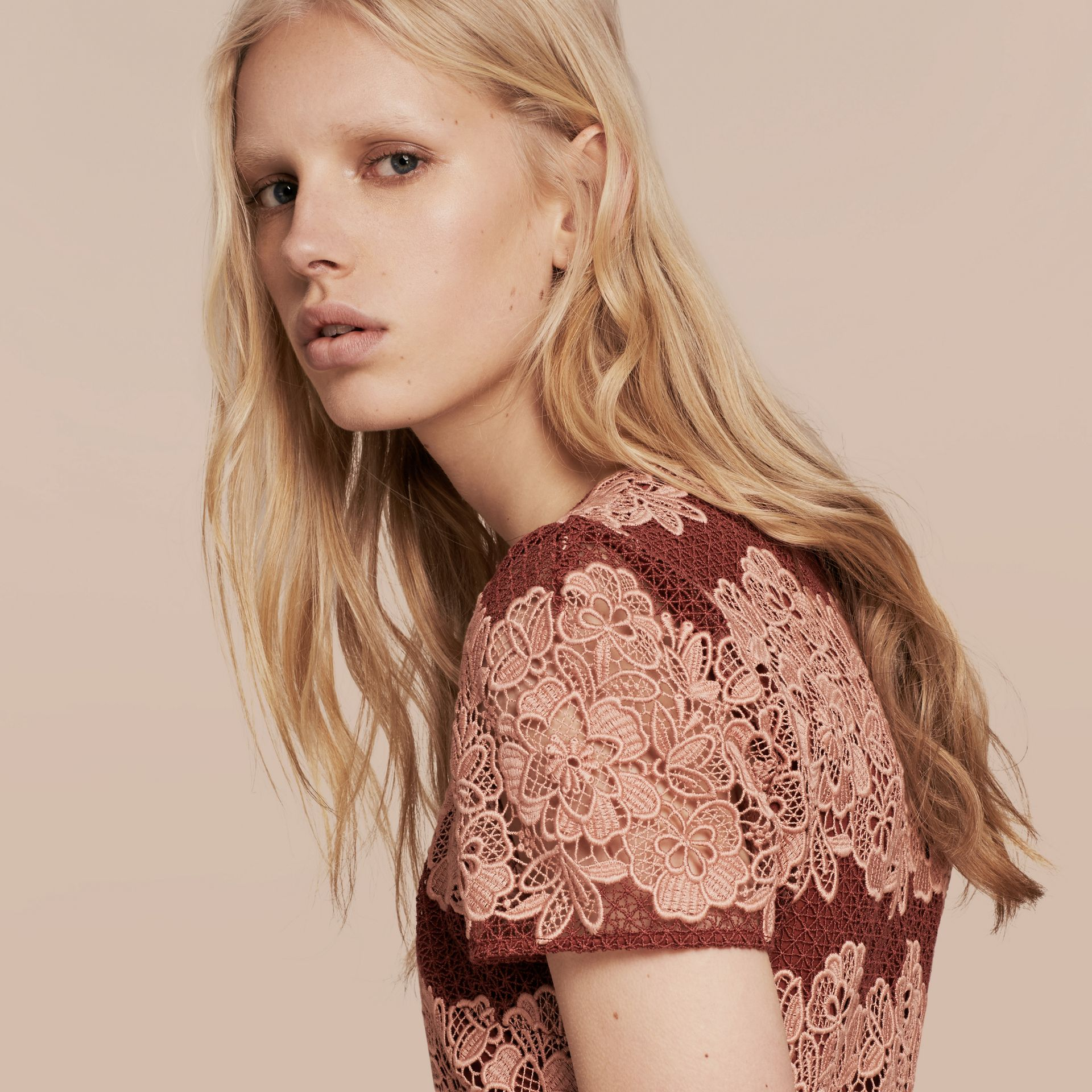 Copper pink/russet Mesh and Macramé Lace Shift Dress - gallery image 5