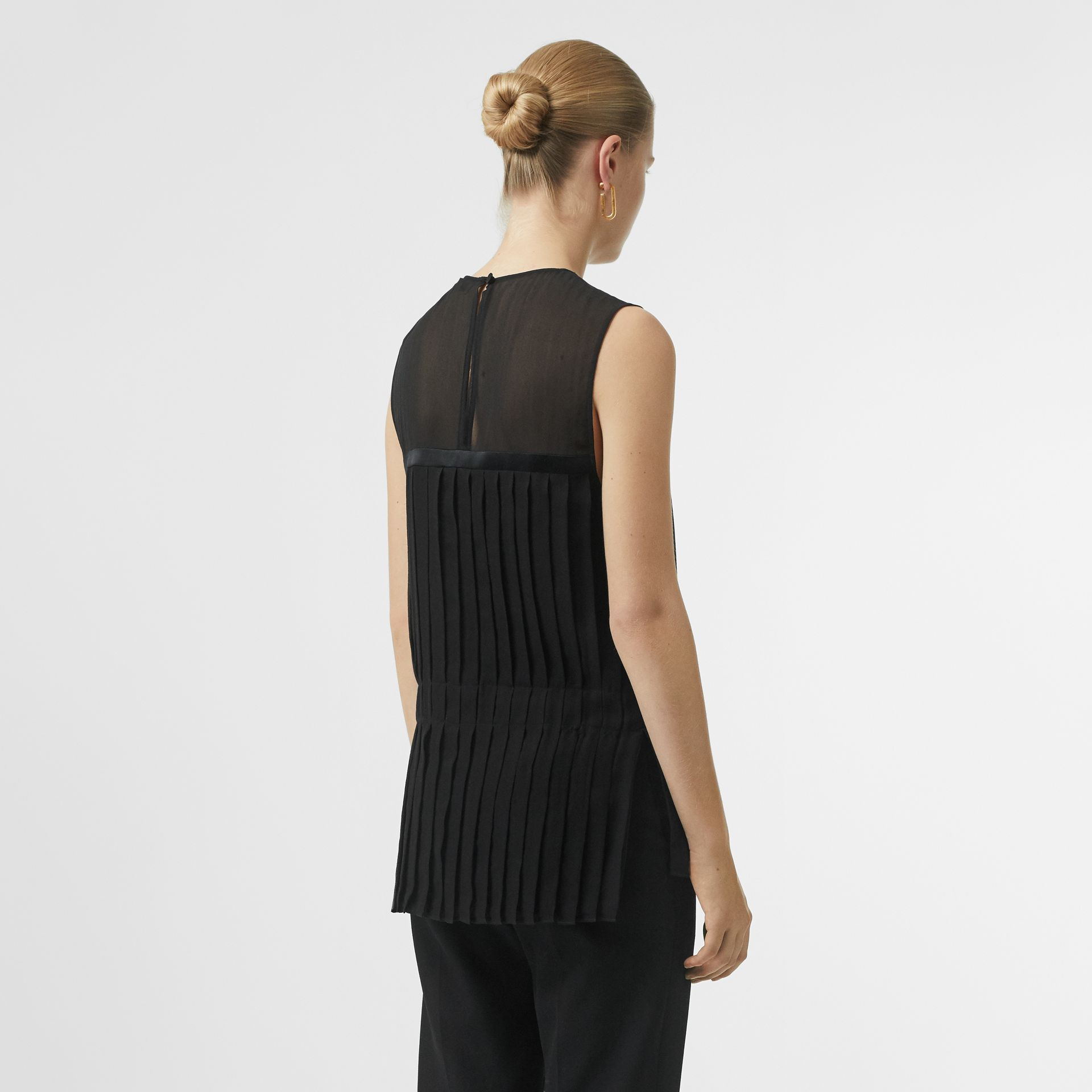 Sleeveless Pleated Silk Georgette Top in Black - Women | Burberry - gallery image 2